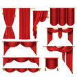 3d realistic set of red luxury curtains vector image vector image