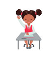african american girl raising hand for an answer vector image vector image