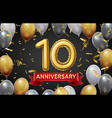 anniversary poster with golden balloons 10 vector image