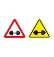 Attention fitness Warning sign sport Red and vector image vector image