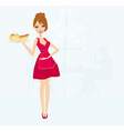 beautiful waitress with a tray with sandwiches in vector image