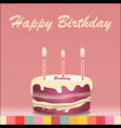 birthday cake with candle design isolated on vector image vector image