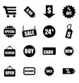 black shopping icon set vector image vector image