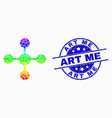 bright dot mesh node icon and scratched art vector image vector image