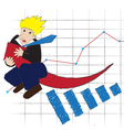Business man ride arrow of profit vector image vector image