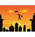 businessman walking a high wire tightrope vector image