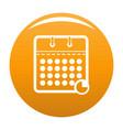 calendar business icon orange vector image vector image
