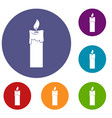 candle icons set vector image vector image