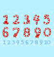 candy numbers set sweet lollipop figure numbers vector image