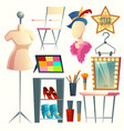 cartoon dressing room collection for vector image vector image