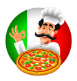 cartoon italian pizza chef on round italy flag vector image vector image