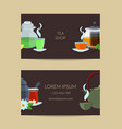 cartoon tea kettles and cups business card vector image