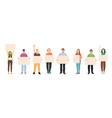 character smiling people holding blank banner vector image