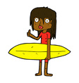 comic cartoon surfer girl vector image vector image