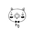 cute simple pig face cartoon style vector image vector image