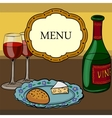 drawing wine and glasses vector image vector image