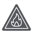 flammable sign glyph icon warning and attention vector image vector image