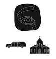 funeral ceremony black icons in set collection for vector image vector image