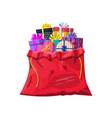 gift boxes in cloth bag vector image