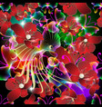 glowing colorful 3d red flowers seamless pattern vector image