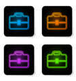 glowing neon toolbox icon isolated on white vector image vector image