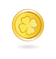 Golden Coin with Irish Shamrock vector image