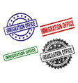 grunge textured immigration office stamp seals vector image vector image