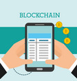 hands with cellphone transaction bitcoin vector image