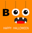 happy halloween hanging word boo text eyeballs vector image vector image