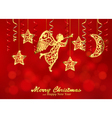 Holiday red background with golden figures of vector image vector image
