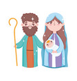 holy mary joseph and bajesus manger nativity vector image vector image