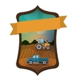 Isolated farm truck and tractor design vector image