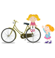 Kids on a bike vector image vector image