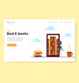 landing page template online library young girl vector image