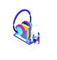 listening to audiobooks - modern colorful vector image vector image