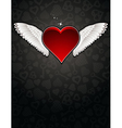 lovely red heart on black background vector image vector image