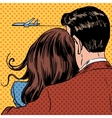 Loving couple looking at a plane taking off in the vector image vector image