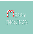Merry Christmas Candy Cane text Flat design Blue vector image