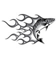 monochromatic abstract burning fish vector image vector image