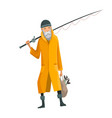 old bearded man with fish rod and a bag in his vector image vector image