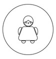 old woman icon black color in circle vector image vector image