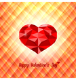 Polygonal red heart on triangular background vector image
