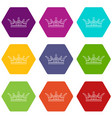 princess crown icons set 9 vector image vector image