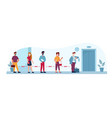 queue to elevator public places social distance vector image