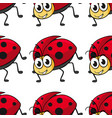 seamless pattern tile cartoon with ladybug vector image vector image