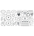 set floral decor hand drawn doodle vector image vector image