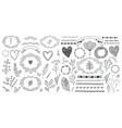 set floral decor hand drawn doodle vector image vector image