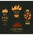 Set lettering hand drawn logos with fire vector image