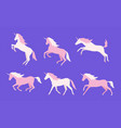 set of colorful unicorns vector image vector image