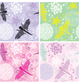 Set of four floral seamless patterns with flowers vector image